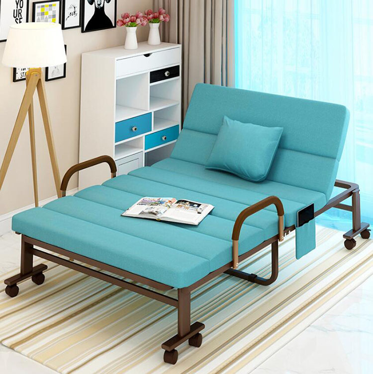 Folding Bed Chair For Home Office Hospital Relaxing Sleeping Accompany Portable Bed Lazy Lounge Chair Sofa With Wheels