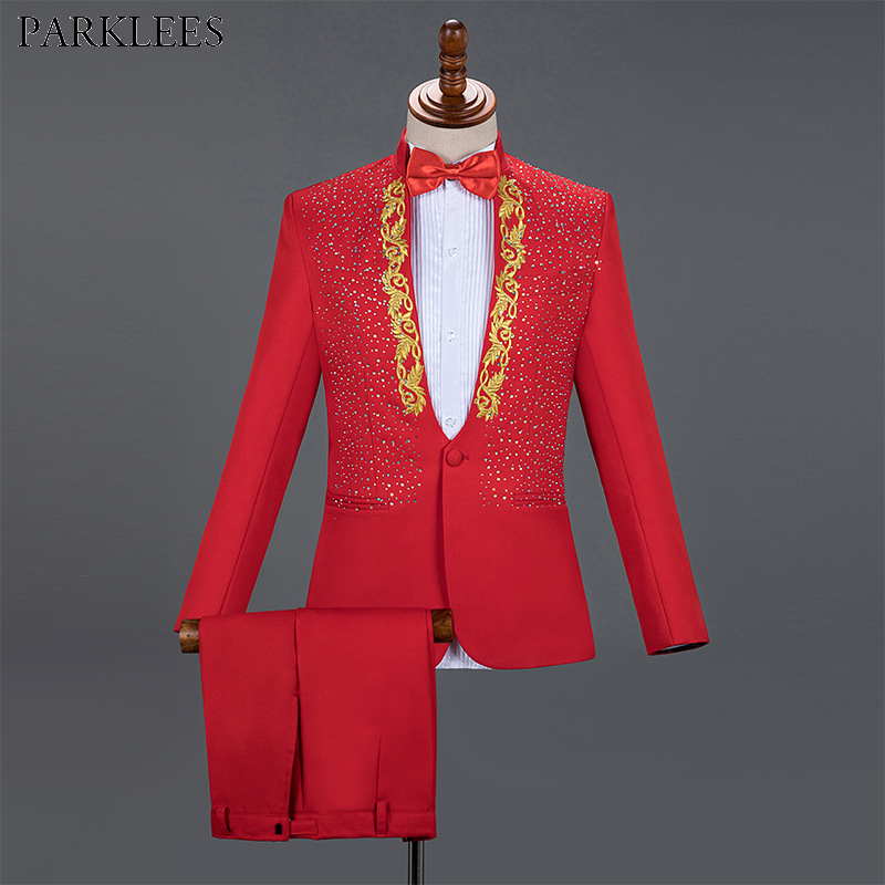 Red Men Suits For Wedding Gold Embroidered Diamond Groom Costume Mens Suits 2 Piece Party Prom Men Tuxedo Men Suit Set Masculino