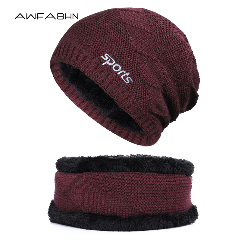 Hot Selling 2pcs Ski Cap And Scarf Cold Warm Winter Thick Lining Plus Velvet Knit Beanie Hat Neck Warmer Ring Scarf Balaclava