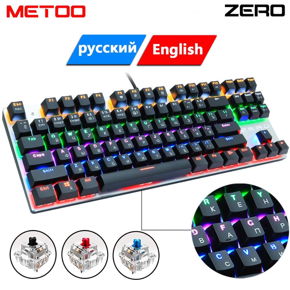 Проводная Механическая игровая клавиатура METOO zero, 87/104, с защитой от ghosting, русская/американская, синяя, черная, красная, с подсветкой, для pro gamer...
