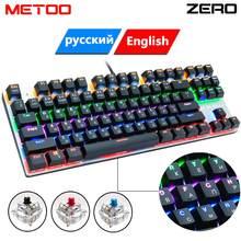 Metoo zero teclado mecânico de jogo, com fio, anti-fantasma russo/eua, azul, preto, vermelho, interruptor retroiluminado para jogos, 87/104 lap pro gamer