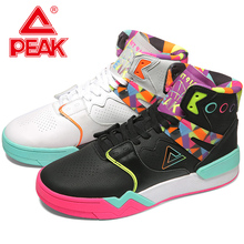 PEAK Men Basketball Culture Shoes Classic High Cut Mixed Color Sneakers Fashion Casual Shoes PEAK TAICHI Retro Sports Shoes