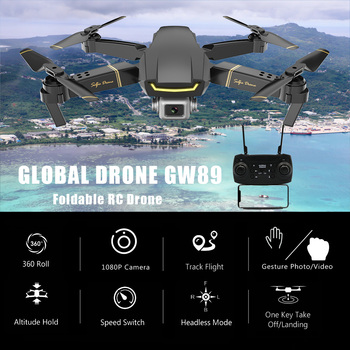 GW89 Wifi FPV RC Drone with 1080P Camera HD Gesture Photo Video Altitude Hold Foldable RC Quadcopter Drone for Beginner VS E58