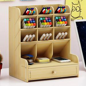 Image 4 - Sharkbang insigne de bureau en bois, porte crayon, articles divers, porte boîte de rangement, papeterie de bureau