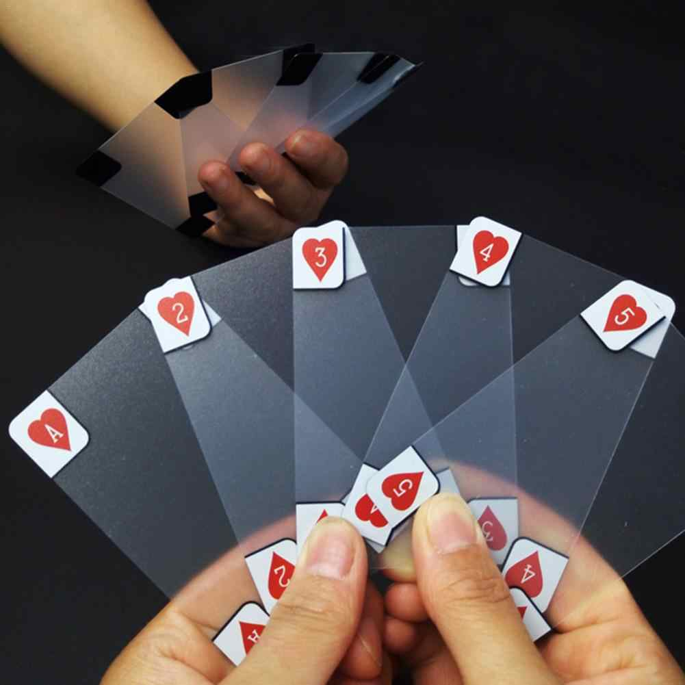 Carte à jouer en plastique Transparent cartes imperméables famille partie jeu de société tours de magie outil cartes de Poker