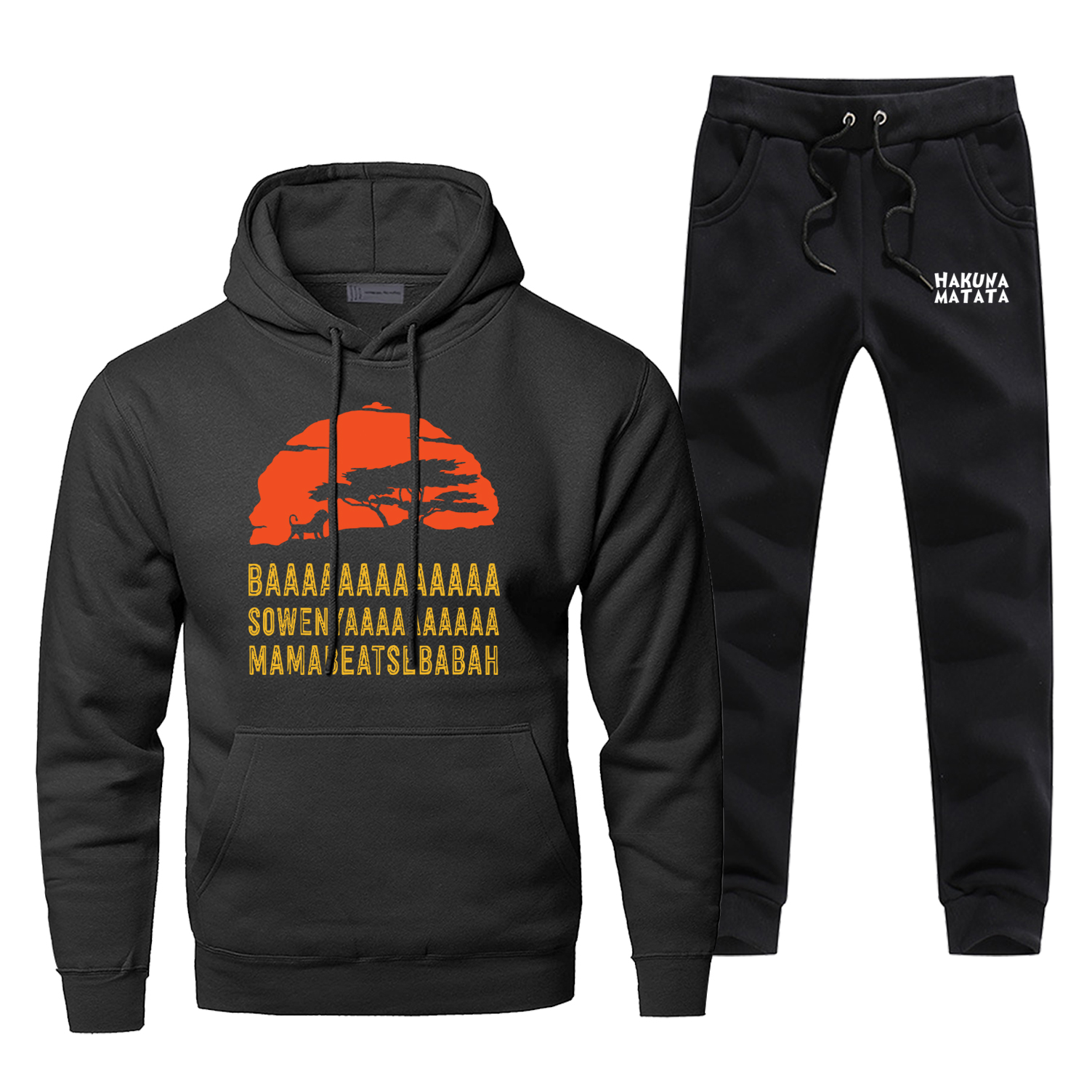 Jungle African Lion King Sunset Sweatshirt Hoodies Pants Sets Men Casual Hip Hop Sportswear Winter Fleece Harajuku Streetwear