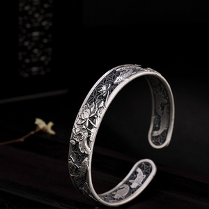Image 4 - Real Pure 999 Sterling Silver Bangles Carved Fish and Lotus Hollow Design Cuff Bracelets for Women Luxury Jewelry