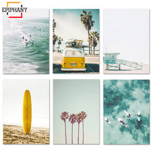 California Print Set Surf Wall Art Canvas Painting Beach Posters Surfboard Prints Coastal Decor Paintings for Living Room Wall(China)