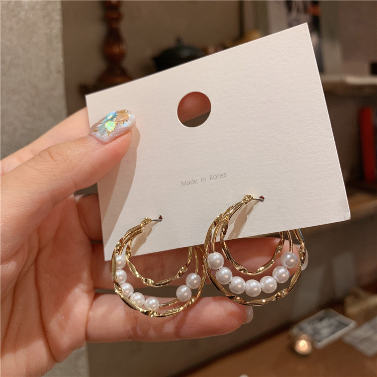 H2010e6a1f2e644e79c151bb2e5527fa1G - Fashion Simulated Pearl Statement Big Small Hoop Earrings for Women Exaggerate Circle Earrings Personality Nightclub Jewelry