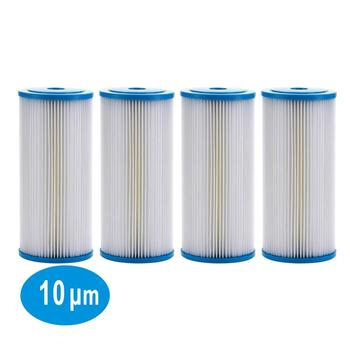 "4 PACK OF Pleated Sediment Water Filter Home or Commercial, Reusable 4.5"" x 20"" - 10 μm"