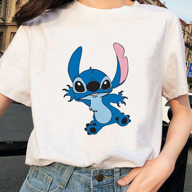 Kawaii Tshirts Lovely T-shirt Women's Fashion T-Shirt Stitch Harajuku Casual T Shirt Cute Printed Casual Tops Cartoon Female