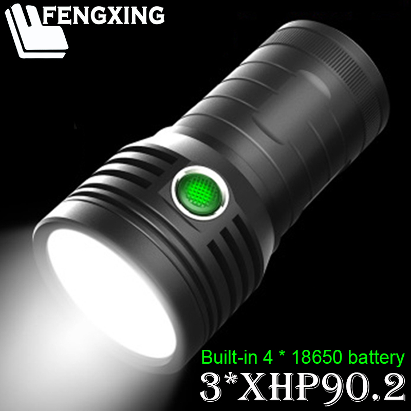 Super Powerful 3pcs XHP90.2 LED Flashlight 3 Mode Tactical Torch USB Rechargeable Linterna Lamp Waterproof Ultra Bright Lantern
