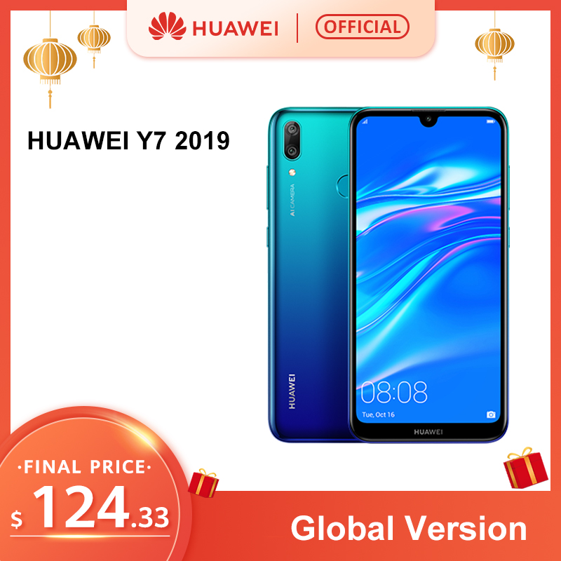 In Stock Global Version Huawei Y7 2019 Smartphone 3GB32GB 4000mAh 6.26 Inch Face ID Unlock Dual AI Camera Snapdragon450 Android