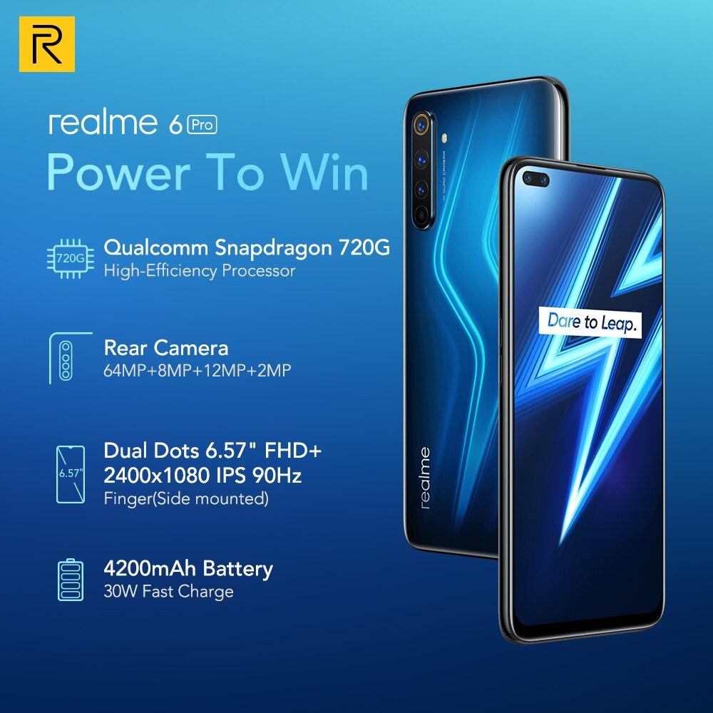 realme 6 Pro 6Pro 8GB RAM 128GB ROM Snapdragon 720G 30W Flash Charge screen 90Hz 4300mAh Battery 64MP Quad Camera 20X Zoom NFC Cellphones  - AliExpress