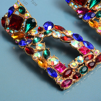 Metal Hollowed-out Hanging Colorful Crystals Dangle Drop Earrings  5