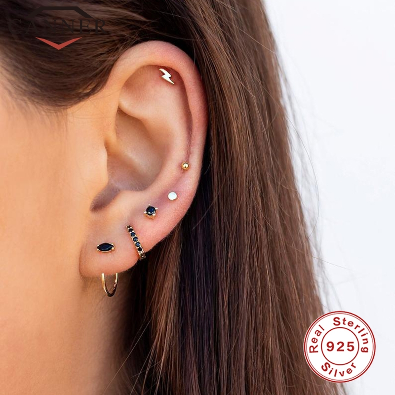INS Style Simple Geometric CZ Zircon Gold Silver Color Stud Earrings For Women 925 Sterling Silver Earrings Fashion Jewelry