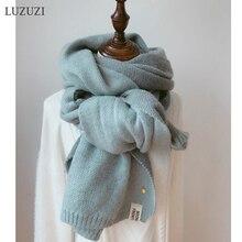 LUZUZI Для женщин однотонные кашемировые шарфы женские зимние плотные теплые Пашмина из мягкой ткани шалей розовый женский вязаный шерстяной длинный шарф