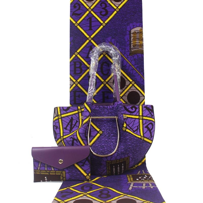 Ensemble de sac à main de cire africaine sac de cire africaine avec véritable tissu de cire hollandaise 6 Yards 100% coton pour sac de femmes H1903250