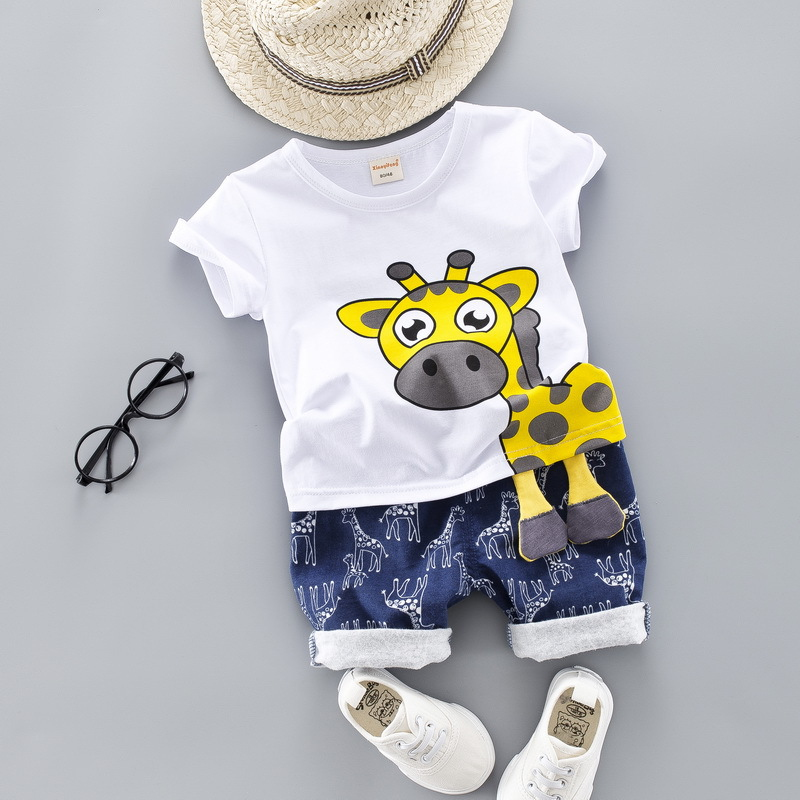 Hot Sale Baby Clothing Set For Boys Girls Cute Summer Casual Clothes Set Giraffe Top Blue Shorts Infant Suits Kids Clothes