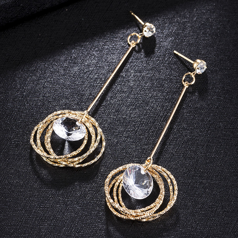 Multiple Circle Rhinestone Dangle Earrings Simple Chain Fashion Jewelry Hanging Long Drop Ear Line For Women Valentines Day Gift