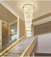 Stair Chandelier Stairwell Crystal Lamp Ceiling Chandelier Living Room Crystal Chandeliers Lighting Fixture Staircase Light LED