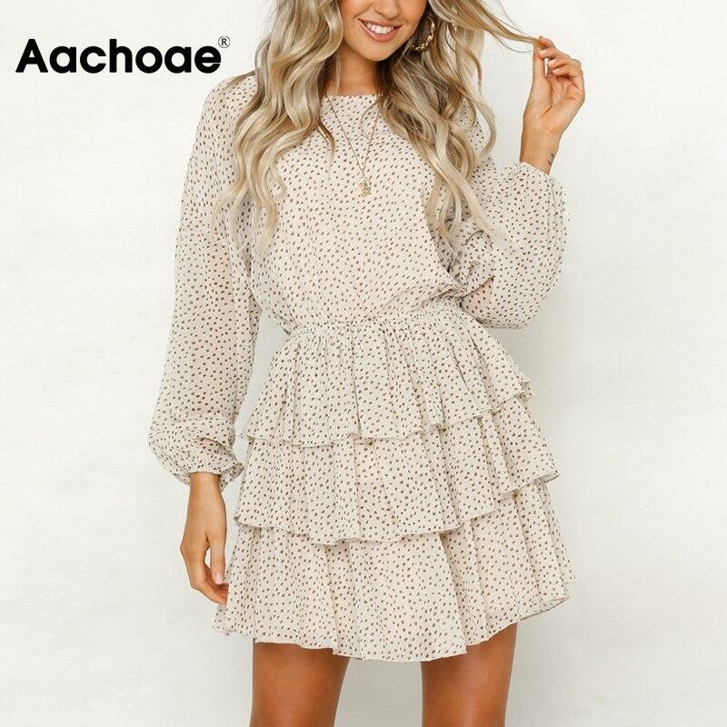 Aachoae Women Dot Print Chiffon Mini Dresses Summer O Neck Cascading Ruffle Dress Long Sleeve Back Hollow Out Boho Party Dress