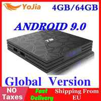 4 gb ram 64 gb rom android 9.0 tv caixa t9 rk3318 quadcore usb 3.0 4 k conjunto superior caixa 2.4g/5g duplo wifi 2g16g smart media player