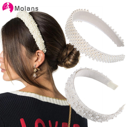 MOLANS Pearl Headband for Wedding Wide Jeweled White Tiara for Bride Wedding Hair Accessories Diadem Prom Dolce Pearls Headbands