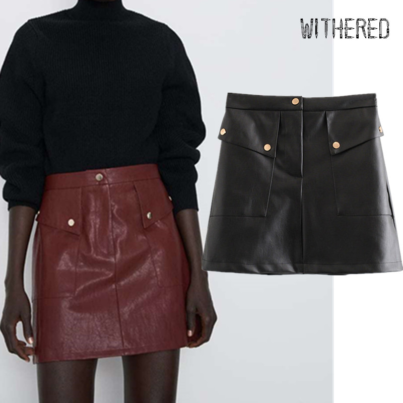 Withered England Style Office Lady Gold Buttons Pockets Solid Leather Mini Skirt Women Faldas Mujer Moda 2019 PU Skirts Womens