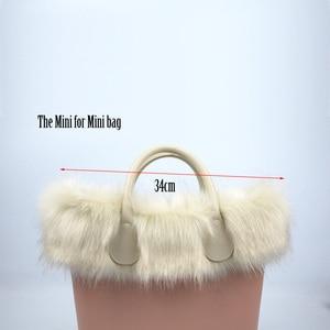 Image 5 - huntfun New Women Bag Faux Fox Fur Beige Plush Trim for O BAG Thermal Plush Decoration Fit for Classic Big Mini Obag