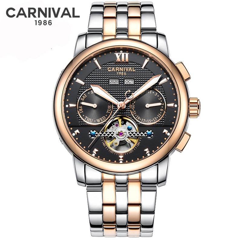 Business Rose Gold Watch Men Waterproof Tourbillon Mechanical  Mens Sport Clock Stainless Steel Automatic Self-Wind Watches NEW