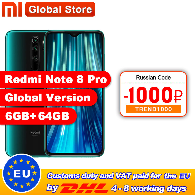 Global Version Xiaomi Redmi Note 8 Pro 6GB 64GB /128GB Smartphone 64MP Quad Camera Helio G90T Octa Core 4500mAh NFC(China)