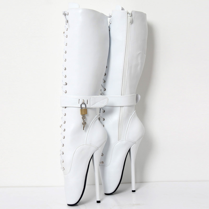 "Image 5 - jialuowei New 18cm/7""  High Heel LOCKY Lockable Ballet Boots Women Cross tied Fetish Sexy Pinup Spike Heels Knee high Boots-in Knee-High Boots from Shoes"