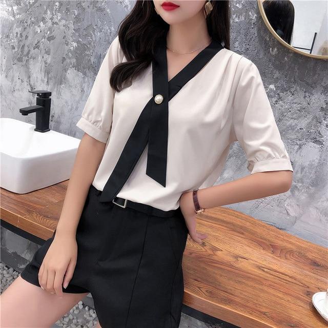 Women's Spring Summer Style Chiffon Blouse Shirt Women's Patchwork V-neck Short Sleeve Ruffles Elegant Temperament Tops DD8443 5