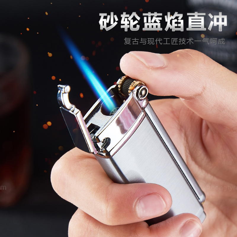 Focus FOCUS Gas Lighters Windproof Straight Blue Flame Cigar Creative Metal Lighter