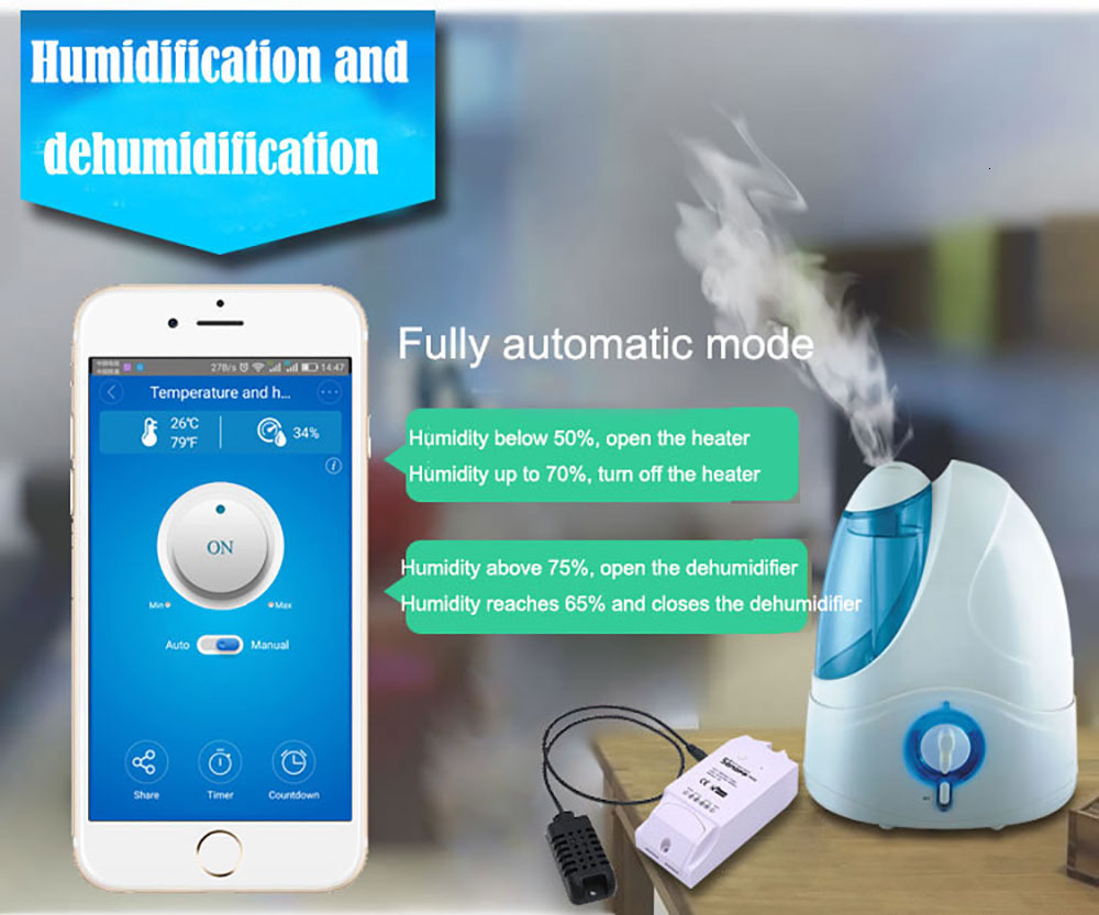 Sonoff TH16 Smart Wifi Switch Monitoring Temperature Humidity Wifi Smart Switch Home Automation Kit Works With Alexa Google Home