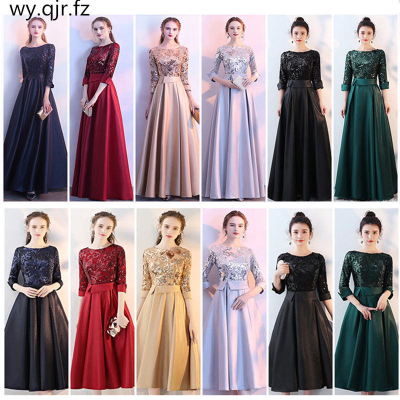 HJZY-8995#Medium Long Bridesmaid Dresses Sequins Golden Navy Wine Red  Gert Green Black Satin Wholesale Wedding Party Dress Girl