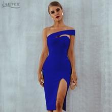 Adyce לבן כחול Bodycon תחבושת שמלת נשים 2020 קיץ סקסי אלגנטי שחור אחת כתף סטרפלס סלבריטאים מסלול מסיבת שמלה