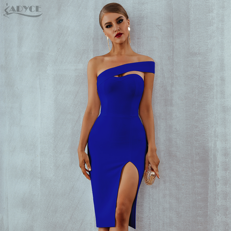 Adyce White Bodycon Bandage Dress Women Vestidos 2020 Summer Sexy Elegant Black One Shoulder Midi Celebrity Runway Party Dresses|dress vestidos|bandage dressknee length dress - AliExpress