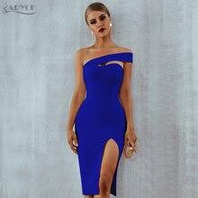 Adyce blanc bleu moulante robe de pansement femmes 2020 été Sexy élégant noir une épaule sans bretelles célébrité piste robe de fête