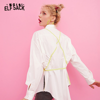 ELF SACK White Casual Women Shirts,2019 Autumn Vintage Full Sleeve Back Criss Cross Femme Shirt Fashion Office Lady Tops