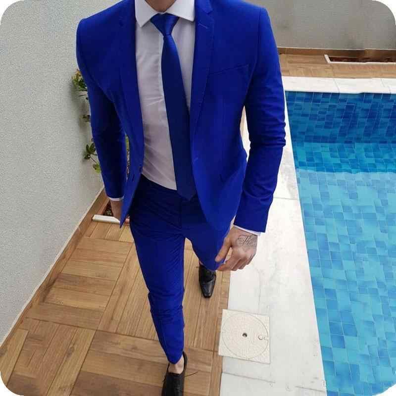 جديد وصول الأزرق الملكي حفلة موسيقية الدعاوى العريس Tuxedos أحدث تصاميم رجالي بدل زفاف ذكر سليم صالح (سترة + بنطلون) 1111