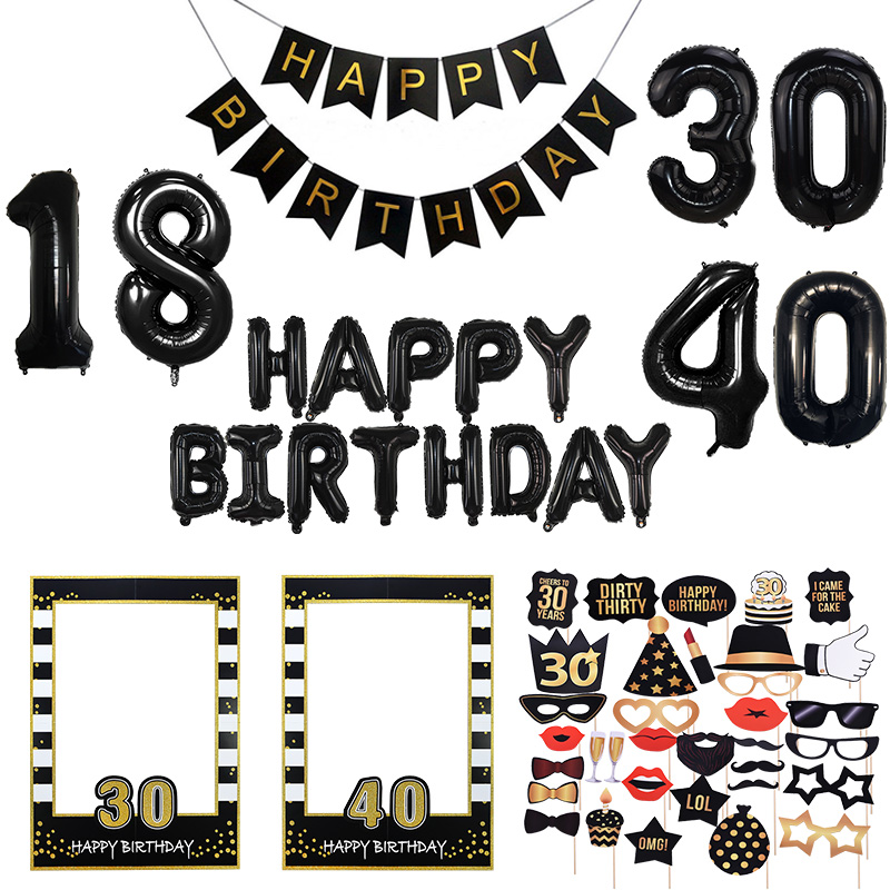 18 30 40 50 60th Birthday Party Photo Props Black Gold Photo Booth Props Adult Happy Birthday Balloons Party Decor Supplies