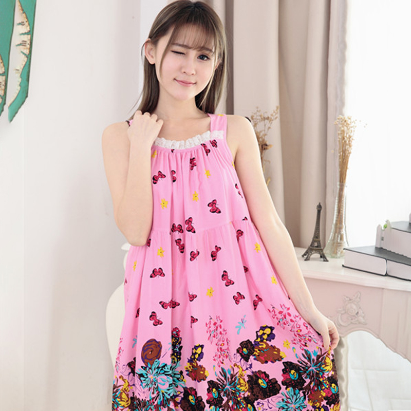 2020 Women's Midi Night Dress Printing Loose Elegant Feamle Sleepwear Sleeveless Spaghetti Strap Casual Nightwear for Women 7