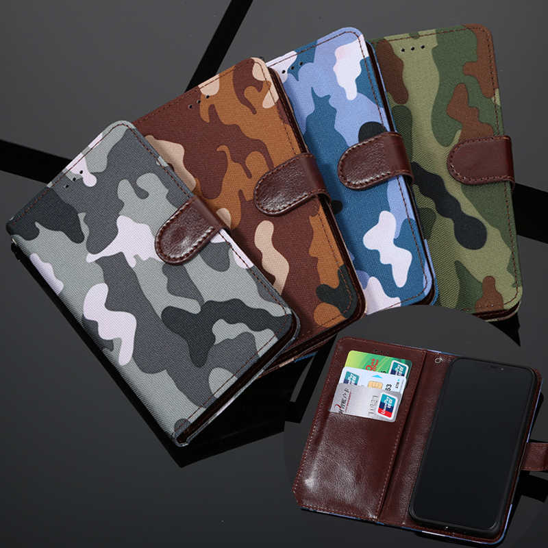 Leger Camouflage Leather Cover Voor Motorola Moto G G5S G5 G4 G6 Plus G7 Power P30 X Play P40 X stijl E5 Z Force Z2 Spelen Flip Case
