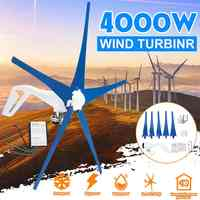 4000W 12V/24V 3/5 Nylon Blades Wind Turbines Generator With Free Wind Controller Use for Home Solar Streetlight ,Boat