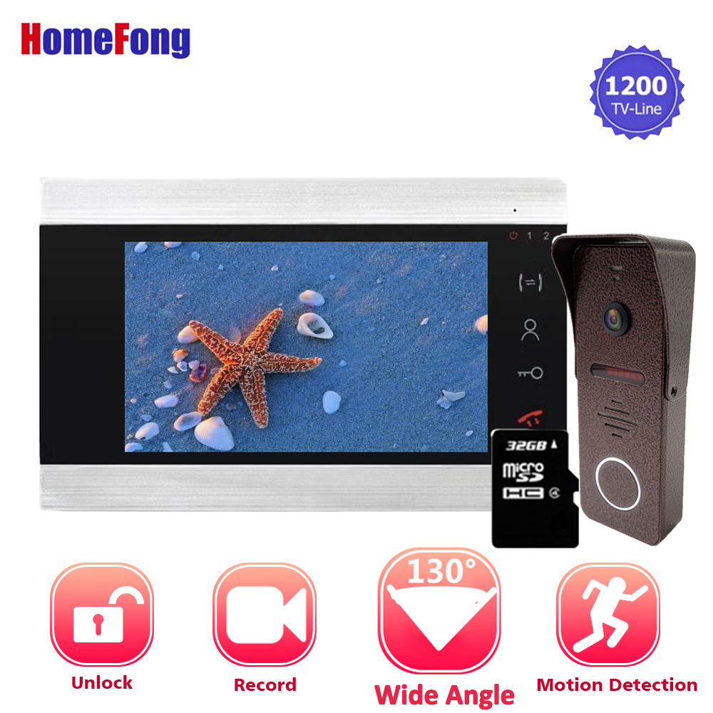 【Upgraded】Homefong 7 Inch Video Intercom Doorbell Phone Wired Visual Wide Angle 130 Degree Record Motion Detection Home Intercom