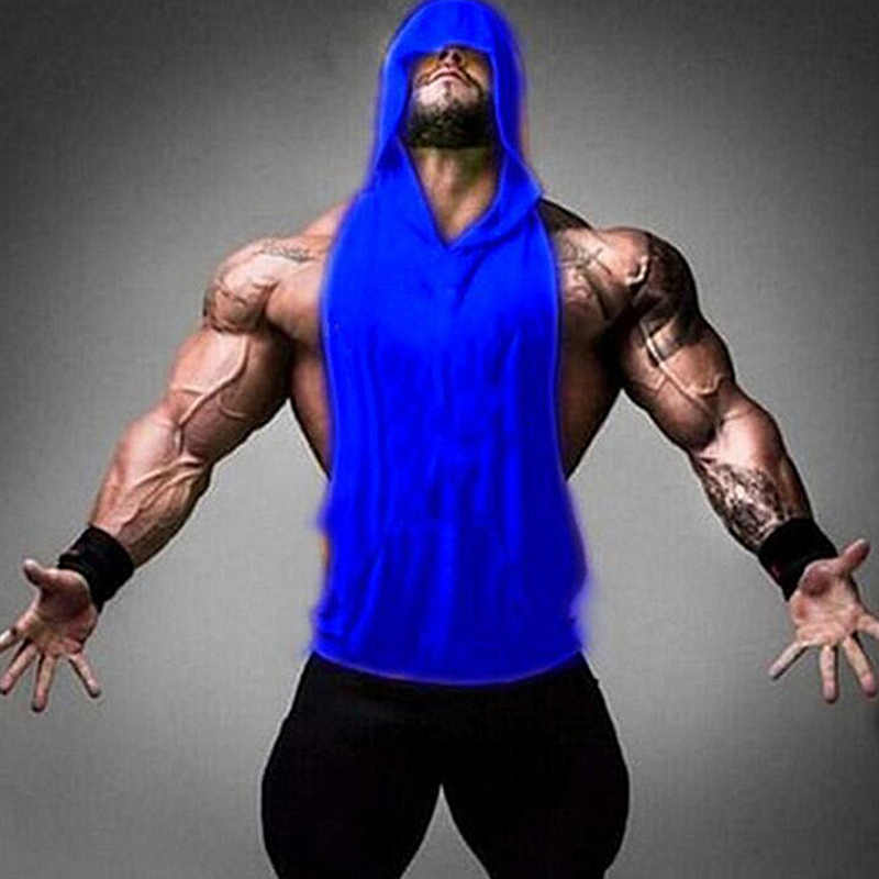 Binaraga Stringer Tank Top Pria Gym Stringer Shirt Fitness Tank Top Gym Pakaian Rompi Katun Hoodies