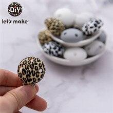 Vamos fazer 5pc macaron contas de silicone chupeta clipe leopardo fazer bebê dentição colar acessórios clipe mamilo diy grânulo ferramenta