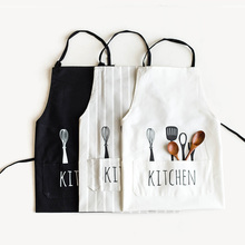 Adjustable Bib Apron With Pockets Extra Long Ties Commercial Grade Unisex Black/White/Gray Pinstripe